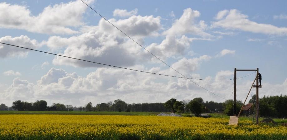 Zipline over de velden